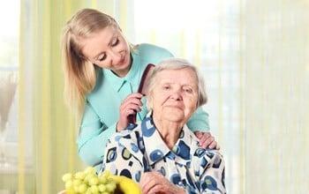 Senior Home Care San Diego Caregiver Grooming Senior Hair