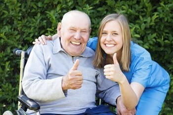 Difference Senior Home Care San Diego Caregiver and Male Senior Thumbs Up