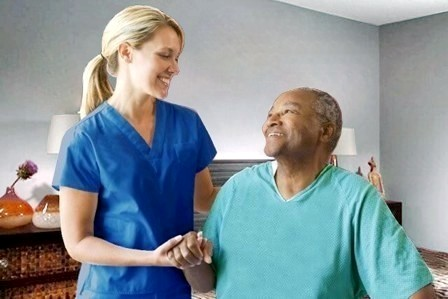 All Heart Home Care San Diego Recover Care Caregiver Assisting Senior